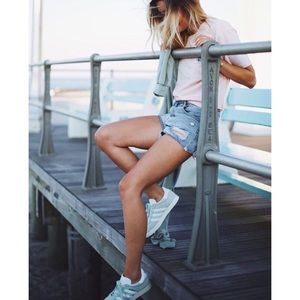 PACSUN High-Rise Light Blue Shorts Destroyed 🤩